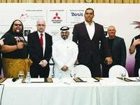 The pro-wrestling superstars Alofa, The Great Khali, and Rob Van Dam join QPW and Superslam 2 organisers at a press conference on Thursday at Dusit Doha Hotel Photo: Nasar K Moidheen.