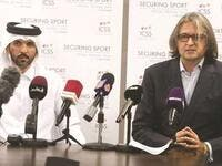 International Centre for Sport Security (ICSS) CEO Massimiliano Montanari (right) and Saleh Salem al-Eida, Special Advisory, Strategy and Partnership Development, are pictured at a press conference yesterday. (Photo: Gulf Times)