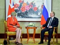 Russian President Vladimir Putin (R) meets with Britain's Prime Minister Theresa May on the sidelines of the G20 Leaders Summit in Hangzhou on September 4, 2016. (AFP/ File Photo)