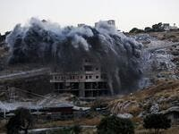 This picture taken on July 22, 2019, shows the demolition of a Palestinian building which was under construction, in the the Palestinian village of Sur Baher in East Jerusalem. (AFP/ File Photo)