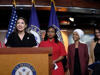 U.S. Rep. Alexandria Ocasio-Cortez (D-NY) speaks as Reps. Ayanna Pressley (D-MA), Ilhan Omar (D-MN), and Rashida Tlaib (D-MI) listen during a press conference at the U.S. Capitol on July 15, 2019 in Washington. (AFP/ File Photo)
