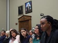 "Rep. Ayanna S. Pressley (D-MA) (R) testifies before a House Oversight and Reform Committee hearing on ""The Trump Administration's Child Separation Policy: Substantiated Allegations of Mistreatment."" with (L-R) Rep. Veronica Escobar (D-TX), Rep. Alexandria Ocasio-Cortez (D-NY) and U.S. Rep. Rashida Tlaib, (D-MI) July 12, 2019 in Washington, DC. (AFP)"