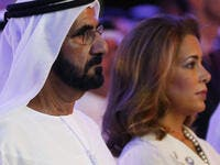 UAE Prime Minister and Dubai Ruler Sheikh Mohammed bin Rashid al-Maktoum (L) with Princess Haya. (AFP/ File Photo)
