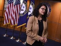 US Representative Rashida Tlaib (D-MI) looks on during an interview after a press conference, to address remarks made by US President Donald Trump earlier in the day, at the US Capitol in Washington, DC.  (AFP/ File Photo)