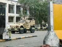 This picture taken on August 17, 2019 shows an armoured vehicle belonging to forces of the Saudi-led international coalition supporting Yemen's internationally recognised government. (AFP/ File Photo)