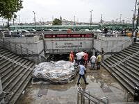 Turkey's mega city Istanbul was lashed by a heavy rainstorm on August 17, killing a homeless man and leaving parts of the historic Grand Bazaar flooded.  Ozan KOSE / AFP