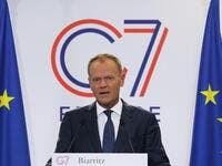 European Council President Donald Tusk addresses media representatives at a press conference in Biarritz, south-west France on August 24, 2019. (AFP/ File Photo)