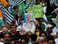 Demonstrators carry an effigy of Indian Prime Minister Narendra Modi during an anti-India protest rally in Karachi on August 25, 2019, in solidarity with India-administered Kashmiri. (AFP/ File Photo)