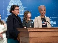 U.S. Reps. Ilhan Omar (D-MN) and Rashida Tlaib (D-MI) hold a news conference on August 19, 2019 in St. Paul, Minnesota. (AFP/ File Photo)