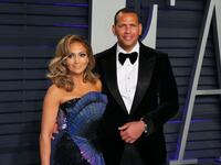 Jennifer Lopez and Alex Rodriguez on Feb. 24. (Jean-Baptisete Lacroix/AFP via Getty Images)