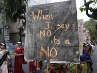 This picture shows a woman holding a banner which reads 'no means no' during a rally to remember a woman gang-raped in New Delhi (Shutterstock)
