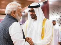 Mohamed bin Zayed and Narendra Modi, share a handshake. (AFP/ File Photo)