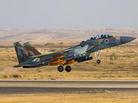 Israeli Air Force F-15I Raam jet with bombs. (Shutterstock/ File Photo)