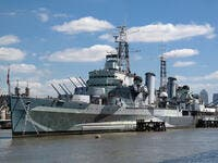 Military ship on river Thames in London. (Shutterstock/ File Photo)