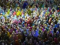 Muslim women pilgrims of the Dawoodo Bohra community take part in a Bohra ceremony in Colombo, in the run up to Ashura, one of the holiest days in Shiite Islam and commemorates the 7th century martyrdom of Prophet Mohammed's grandson.  ISHARA S. KODIKARA / AFP