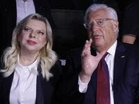 US ambassador to Israel David Friedman (R) speaks with Sara Netanyahu, wife of the Israeli Prime Minister, as they attend a ceremony commemorating the eve of the 18th anniversary of the September 11, 2001 terror attacks in New York City, at the 9/11 Living Memorial Plaza on a hill overlooking Jerusalem AHMAD GHARABLI / AFP