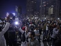 In Cairo dozens of people joined night-time demonstrations around Tahrir Square -- the epicenter of the 2011 revolution that toppled the country's long-time autocratic leader. STR / AFP