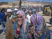 "Amazigh (Berber) men and women take part in the annual ""Engagement Moussem"" festival near the village of Imilchil in central Morocco's high Atlas Mountains on September 21, 2019. Each year in the High Atlas Mountains hamlet of Ait Amer, tribes celebrate with dances and music, the collective wedding of young Amazigh couples during the traditional festival of ""Engagement Moussem"". FADEL SENNA / AFP"