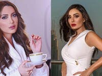 Syrian actress Dima Al-Jundi has attacked actress Nisreen Tafesh Source @dima.aljundi @nesreentafesh Instagram