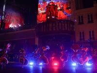 Moulin Rouge dancers perform during the celebration of the 130th anniversary of the French oldest cabaret, on October 6, 2019 in Paris.  GEOFFROY VAN DER HASSELT / AFP