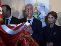 Saied won a landslide victory in Tunisia's presidential runoff, sweeping aside his rival, media magnate Nabil Karoui, state television Wataniya said. It said he scooped almost 77 percent of the vote, compared to 23 percent for Karoui. Fethi Belaid / AFP