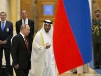 Russian President Vladimir Putin and Abu Dhabi Crown Prince Mohammed bin Zayed al-Nahyan attend the official welcome ceremony in Abu Dhabi, United Arab Emirates, on October 15, 2019. (Alexander Zemlianichenko / POOL / AFP)