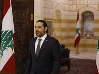 Lebanese Prime Minister Saad Hariri prepares to give an address at the government headquarters in the centre of the capital Beirut on October 18, 2019. Hariri gave his government three days to back key reforms as protests against the political elite and austerity measures rocked the country for a second day. Marwan TAHTAH / AFP