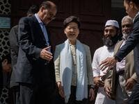 Hong Kong's Chief Executive Carrie Lam (C) exits the Kowloon Mosque, or Kowloon Masjid and Islamic Centre, in the Tsim Sha Tsui district in Hong Kong on October 21, 2019.  (AFP/ File Photo)