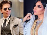 A video for Emarati songstress Ahlam standing opposite to Bollywood legand Shahrukh Khan Source ahlamalshamsi iamsrk Instagram