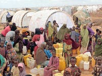 Refugee camp, hundreds of thousands of difficult conditions, Somali immigrants are staying. African people waiting to get in the water. (Shutterstock/ File Photo)