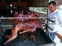 This photo taken on October 26, 2019 shows a man looking at a grilled dog at a restaurant in Kampong Cham province. Cambodian dog meat traders drown, strangle and stab thousands of canines a day in a shadowy but sprawling business that traumatises workers and exposes them to deadly health risks like rabies. TANG CHHIN Sothy / AFP