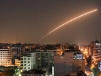 Israeli missile launched from the Iron Dome defence missile system, designed to intercept and destroy incoming short-range rockets and artillery shells, is seen above Gaza city on November 12, 2019. BASHAR TALEB / AFP