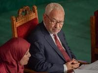 Tunisian Islamist-inspired Ennahdha party leader Rached Ghannouchi (R) chairs the first session of the new parliament following the October elections in the capital Tunis, on November 13, 2019. A collective oath by newly elected members of parliament was challenged by the leader of the Free Destourian Party (PDL), anti-Islamist lawyer Abir Moussi who wanted MPs to swear one by one, claiming some of them were not in the room at the time of the oath. It is the first clash on the floor of the Assembly between