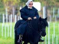 The Queen was spotted horse riding in the grounds of Windsor Castle this morning (Twitter)