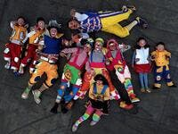 Clowns pose for a picture during the International Clown Day in Guadalajara, Mexico, on December 10, 2019. ULISES RUIZ / AFP