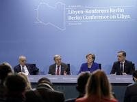 (LtoR) Special Representative and Head of the United Nations Support Mission in Libya (UNSMIL) Ghassan Salame; Secretary-General of the United Nations (UN) Antonio Guterres; German Chancellor Angela Merkel and German Foreign Minister Heiko Maas give a press conference at the end of a Peace summit on Libya at the Chancellery in Berlin on January 19, 2020. (AFP/ File Photo)