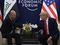 US President Donald Trump speaks with Iraqi President Barham Salih during a bilateral meeting at the World Economic Forum in Davos, Switzerland, on January 22, 2020. JIM WATSON / AFP