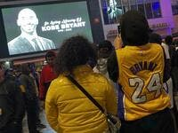 People gather by the Staples Center in Los Angeles on January 26, 2020 as they pay tribute to former NBA and Los Angeles Lakers player Kobe Bryant following his death in a helicopter crash near Los Angeles. (AFP/ File Photo)