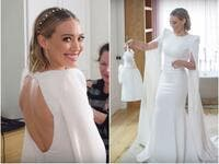 Hilary Duff opted for an understated ivory Jenny Packham bridal gown. Vogue / YouTube