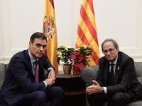 Spanish Prime Minister Pedro Sanchez met with Quim Torra at the Palacio de Pedralbes in Barcelona on Thursday. Photo: AFP