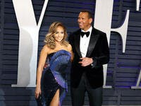 Jennifer Lopez, Alex Rodriguez at the 2019 Vanity Fair Oscar Party at The Wallis Annenberg Center for the Performing Arts on February 24, 2019 in Beverly Hills, CA. (Shutterstock)