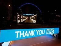 UK landmarks lit up blue for the NHS staff fighting coronavirus. (Twitter)