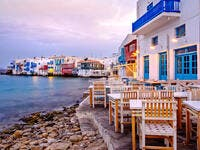 Beautiful sunrise at Little Venice on Mykonos island, Cyclades, Greece (Shutterstock)
