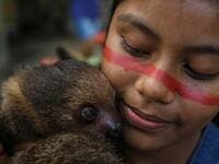 A Satere-Mawe indigenous girl hugs a sloth in the Wakiru community, in Taruma neighbourhood, a rural area west of Manaus, Amazonas State, Brazil, on May 17, 2020, during the COVID-19 coronavirus pandemic. Ricardo OLIVEIRA / AFP