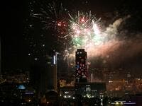 Fireworks light up the sky above the Abdali Boulevard in the centre of Jordan's capital Amman on May 25, 2020, as the country marks its 74th Independence Day. Khalil MAZRAAWI / AFP