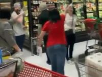 A viral video shows furious New Yorkers chasing a shopper out of a grocery store in Staten Island because she wasn't wearing a mask. (Twitter)