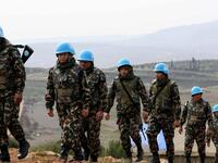 UN peacekeepers patrolling the Lebanese side of the border with Israel. AFP