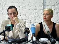 Presidential candidate Svetlana Tikhanovskaya and her ally Maria Kolesnikova hold a press conference the day after Belarus' presidential election in Minsk on August 10, 2020. Sergei GAPON / AFP
