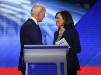 Former Vice President Joe Biden and Senator Kamala Harris speak on September 12, 2019, in Houston, Texas, after the third Democratic primary debate of the 2020 presidential campaign season hosted by ABC News. (Robyn Beck / AFP)