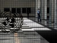 A UN police officer stands at an empty entrance at the United Nations September 22, 2020 during the 75th General Assembly of the United Nations which is mostly virtual due to the covid-19 pandemic in New York. UN Secretary-General Antonio Guterres urged the world to prevent a Cold War between the United States and China and halt conflicts so it can focus on the covid-19 pandemic. TIMOTHY A. CLARY / AFP